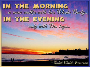 ... Man Walks Wiht His Whole Body In The Evening Only With His Legs