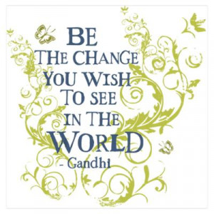 ... Posters > Gandhi Vine - Be the change - Blue & Green Mini Po Poster