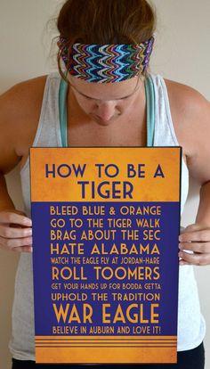 Auburn Tigers Art Print, Auburn Quote Poster Sign, Auburn Football ...