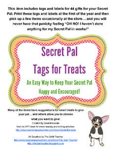 Secret Pal - Tags and Notes (Pick and Choose to Make Your Secret Pal's ...