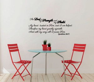 Vinyl Decal Psalms Bible Quote Lord Strength Shield Home Wall Art ...