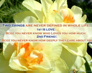 ... Defined In Whole Life First Love And Second Friend ~ Friendship Quote