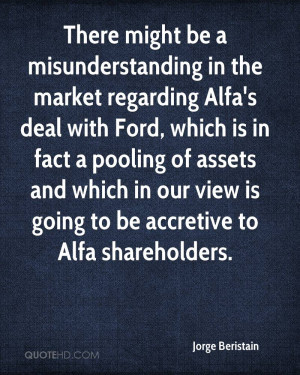 There might be a misunderstanding in the market regarding Alfa's deal ...