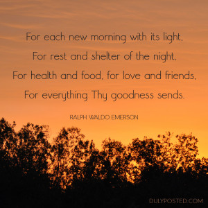 Ralph Waldo Emerson poem about gratitude with sunrise photo
