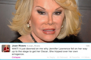 Harsh! All though Joan Rivers isn't known for her compassion and charm ...