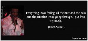 ... pain and the emotion I was going through, I put into my music. - Keith