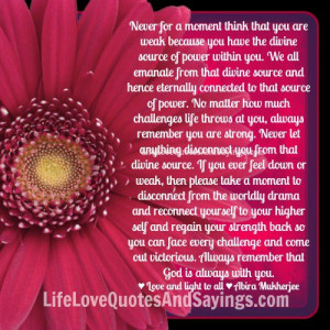 The divine source of power within you.