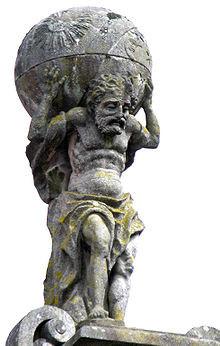 Atlas trägt das Himmelsgewölbe auf seinen Schultern. (Statue auf dem ...