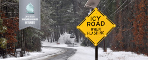 Icy Road BlinkerSign® Solar Powered Sign