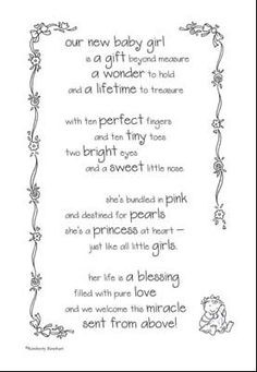 Baby Girl Poems And Quotes | Baby Girl Poem - $1.19 : Zen Cart!, The ...