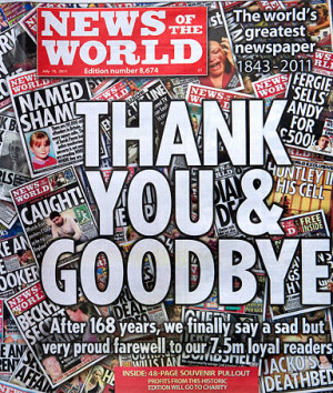 front and back page wrap of the last edition of the British tabloid ...
