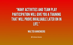 Many activities and team play participation will give you a training ...