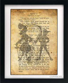 ... Hook Art Book Print - A4 or A3 Large Vintage Page Effect Wall Quote