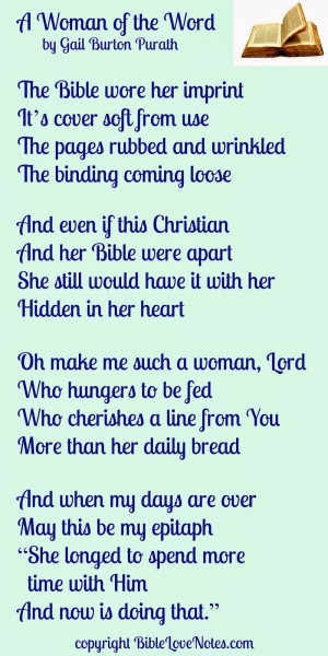 God's Word, A well-used Bible, poem A Woman of the Word