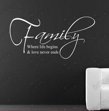 Family & Love stickers wall Quote Removable Art Vinyl Decor Home Kids ...