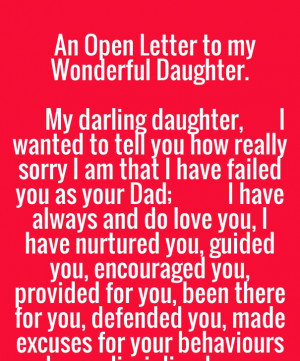 An open letter to my wonderful daughter. my darling daughter, i wanted ...
