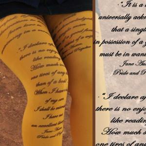 Tights - JANE AUSTEN Quotes- Pride and Prejudice -Printed Tights ...