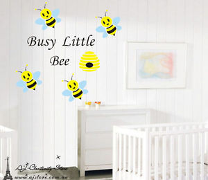 Busy-Little-Bee-Wall-stickers-Quotes-Nursery-Decal-Removable-Mural ...