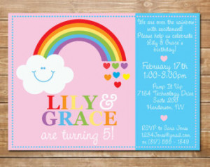Twins Rainbow Birthday Invite, Invitation for Twin Girls, Rainbow ...