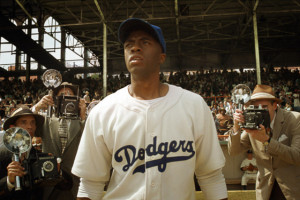 CHADWICK BOSEMAN as Jackie Robinson in Warner Bros. Pictures' and ...