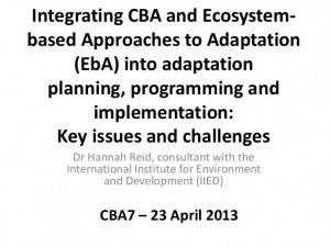and Ecosystem- based Approaches to Adaptation (EbA) into adaptation ...