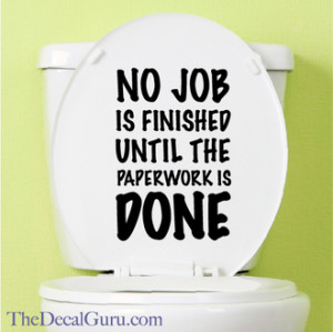 Toilet Paperwork Toilet Decal $11.99