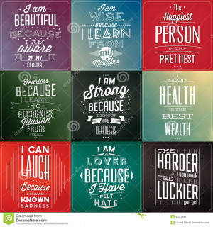 ... Photo: Set Of Vintage Typographic Backgrounds / Motivational Quotes