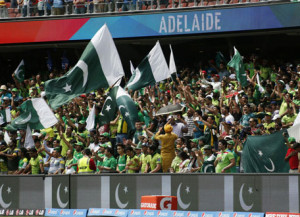 Pakistan's cricket team cheer in the stands before their Cricket World ...