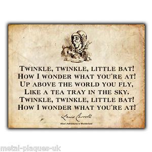 ... WALL-PLAQUE-Alice-in-Wonder-Land-Mad-Hatter-Lewis-Carroll-Quote-print