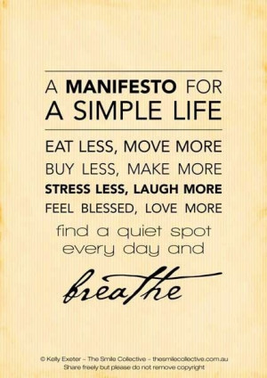 How to live a simple life.