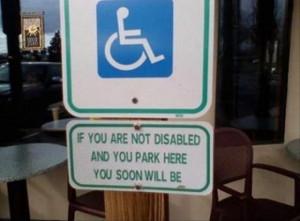 funny handicap parking sign