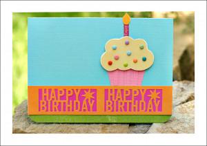 Martha Stewart Happy Birthday punch - cupcake card