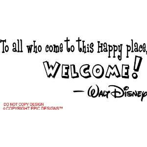 happy place, welcome cute Wall art Wall sayings quote Home & Kitchen