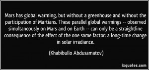 Warming But Without A Greenhouse And The Participation