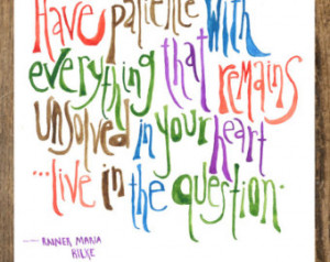 8x10 Rainer Maria Rilke Watercolor Print Quote ...