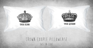 Crown Couple Pillowcases King and Queen Regal by 365inlovedotcom, $29 ...