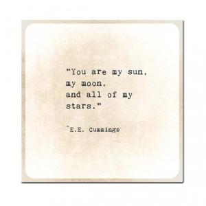 Moon Sun Stars EE Cummings Gold Golden Quote Typography Inspirational ...