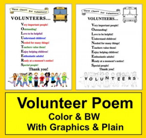 School Volunteer Thank You Poem http://www.teacherspayteachers.com ...
