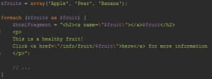 the htmlfragment variable holds html code in which double quotes