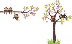 Monkey Wall Decal - Baby Wall Decal - Nursery Wall Decal, Wall Sticker ...