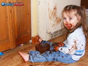 messy chocolate little girl