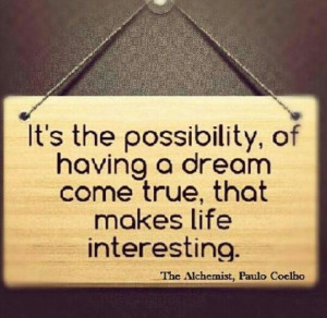 ... to read- The Alchemist by Paulo Coelho. I believe in possibilities