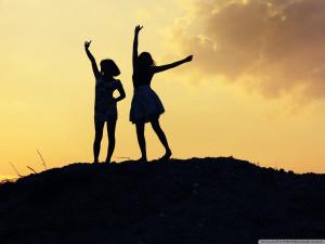 Best friends teen girls enjoying at hill