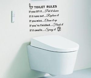 ... Rules-Bathroom-Art-Wall-Quote-Stickers-Wall-Decals-Bathroom-Decoration