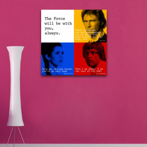 star wars the force quote square wall art