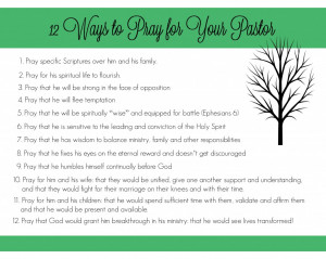 to Prayer for Your Pastor! Great resource to print off and put in your ...