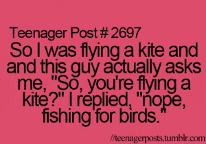 cool, fishing, fishing for birds, funny, guy, kite, outdoors, posts ...