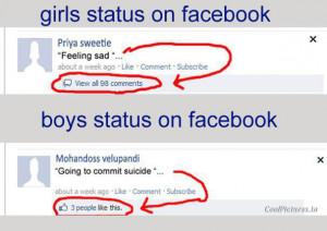 Girls VS Boys at Facebook Status - Funny :)