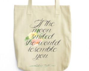 Sylvia Plath Tote - Book Bag - Literary Love Quote - Sylvia Plath Tote ...