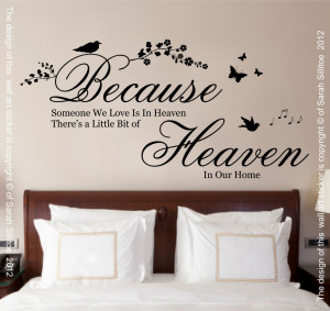 Because Someone we love is in Heaven Quote Vinyl Wall Art Sticker ...